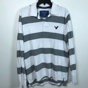 American Eagle Large White Gray Stripe Polo Shirt